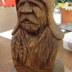 Member project - mountain man part of the April Carving Class, led by Bob Lawrence