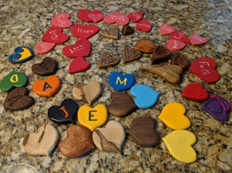 Hearts collected during the first 2018 Whittle-In Picnic