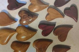 Sealed wood hearts