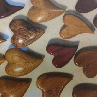 Sealed wood hearts