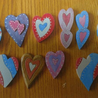 Painted wood hearts
