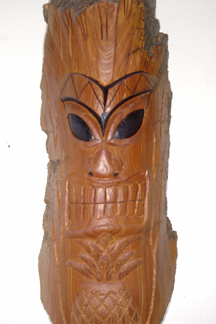A tiki carving by Doug Smith